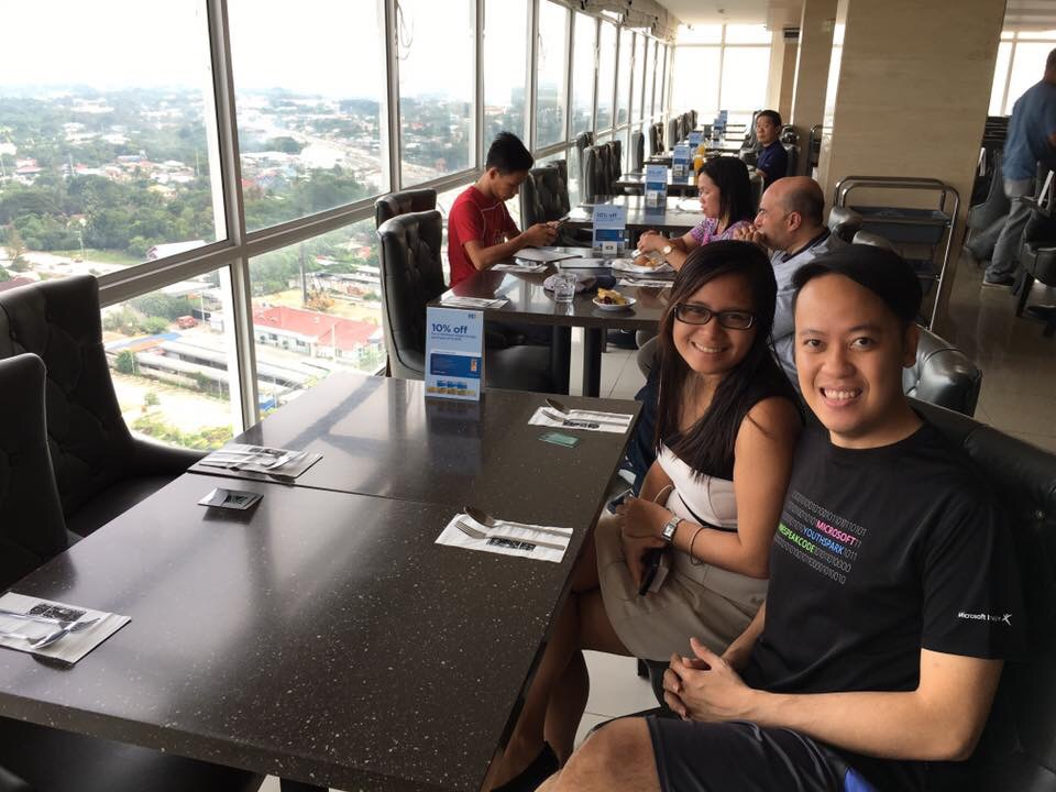 JP and I waiting for our breakfast at Injap Hotel
